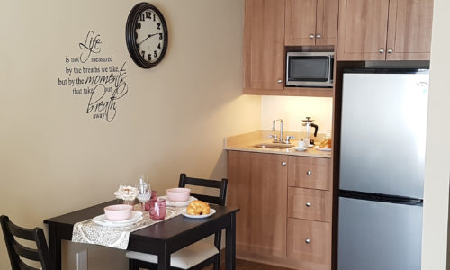 Interior of room at Oakcrossing Retirement Living showing kitchenette