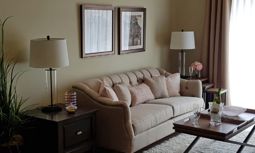 Living area in a suite at Oakcrossing Retirement Living