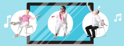 Graphic with three images of seniors dancing while sitting on chairs