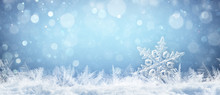 Winter-themed banner with snowflakes