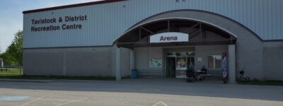 Exterior shot of the arena where the community COVID-19 vaccine clinic took place