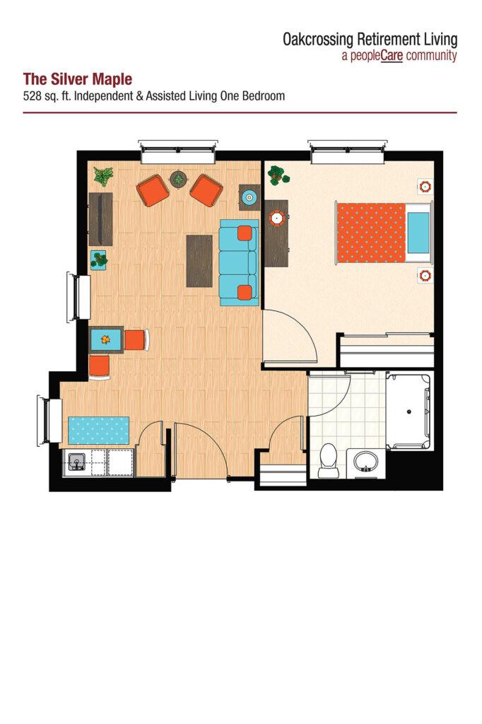 Oakcrossing Retirement Living Silver Maple floor plan