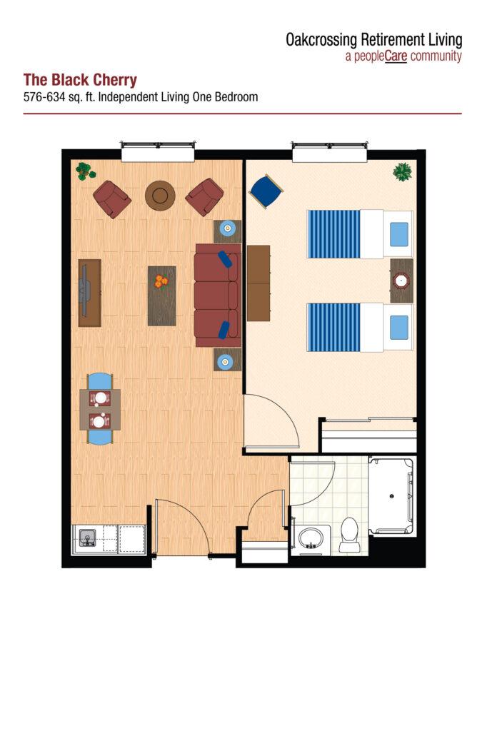 Oakcrossing Retirement Living Black Cherry floor plan