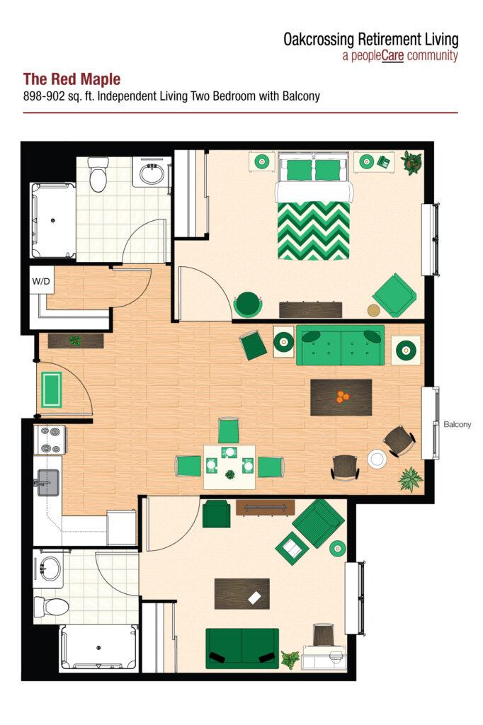 Oakcrossing Retirement Living Red Maple floor plan