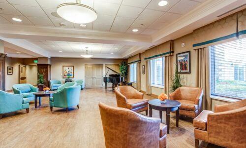 Chairs and grand piano at Oakcrossing Retirement Living