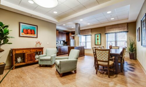 Kitchen and family room at Oakcrossing Retirement Living