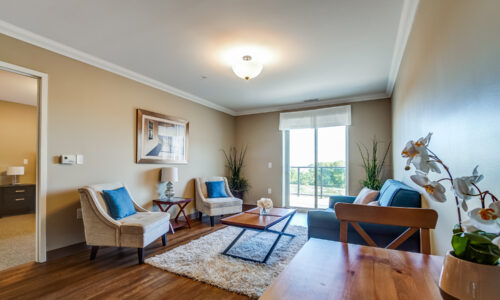 Living room area in suite at Oakcrossing Retirement Living